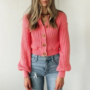 NWT Free People Bubblegum All Yours Cardigan